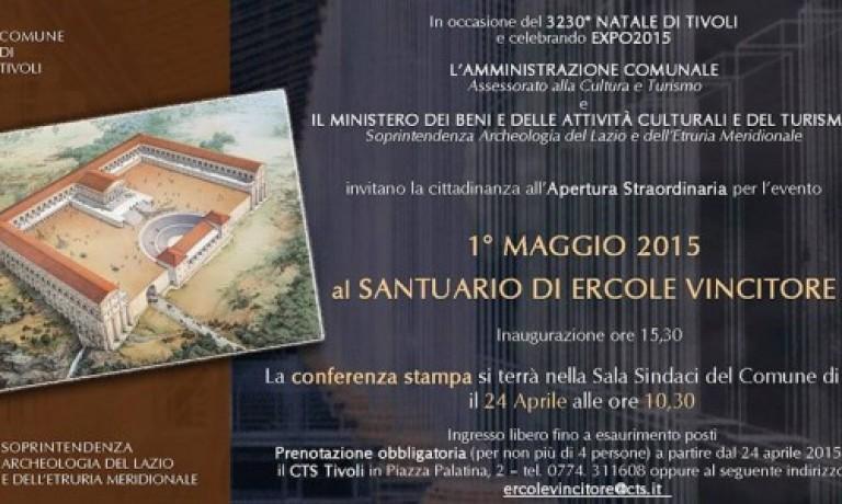 Primo Maggio, apertura del Santuario di Ercole  Vincitore a Tivoli
